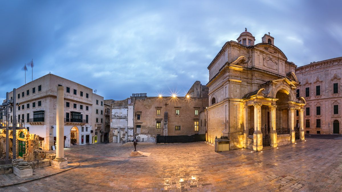 Saint Catherine of Italy Church and Jean Valette Piazza, Malta