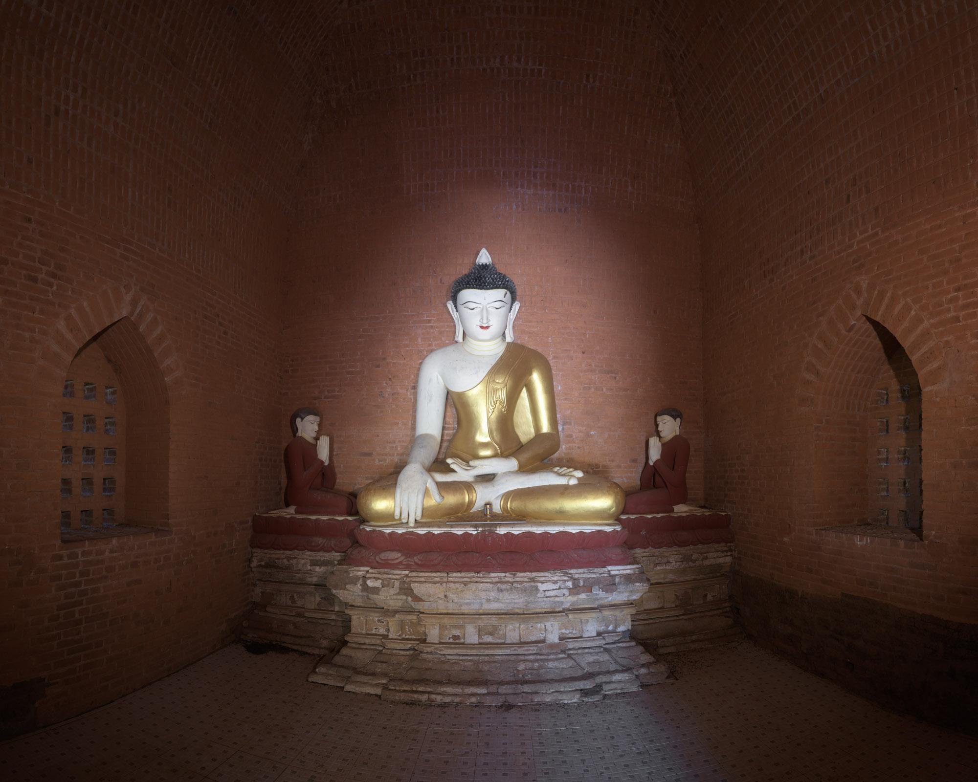 Ancient Temple Interior, Seated Buddha, Bagan, Myanmar