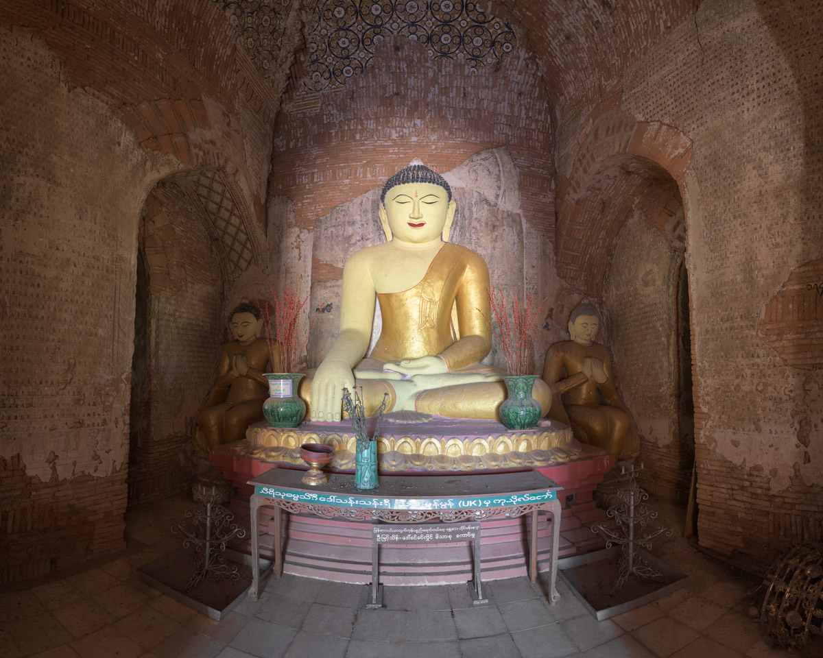 Ancient Temple Interior, Seated Buddhas, Bagan, Myanmar