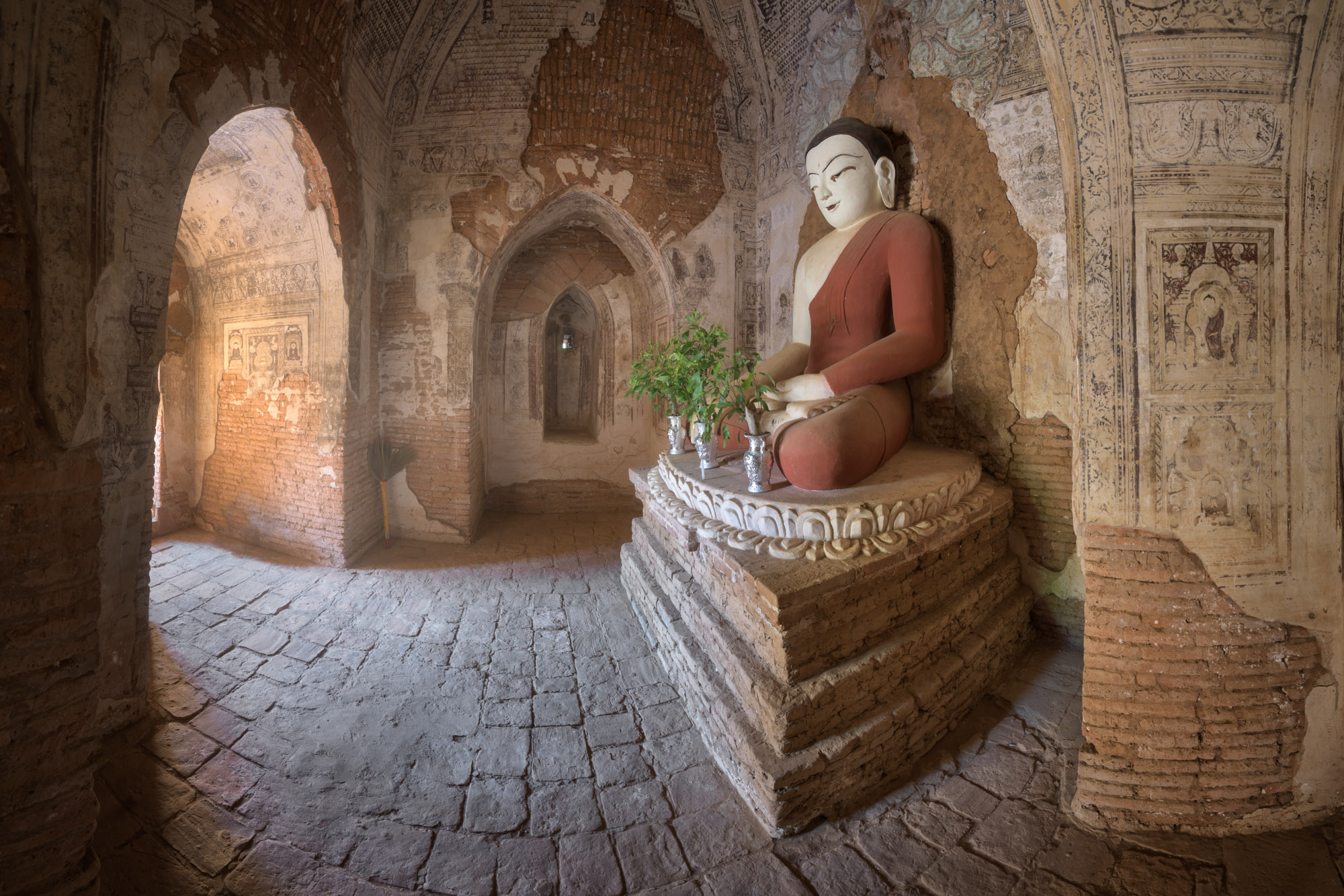Ancient Temple Interior with Seated Buddha, Bagan, Myanmar