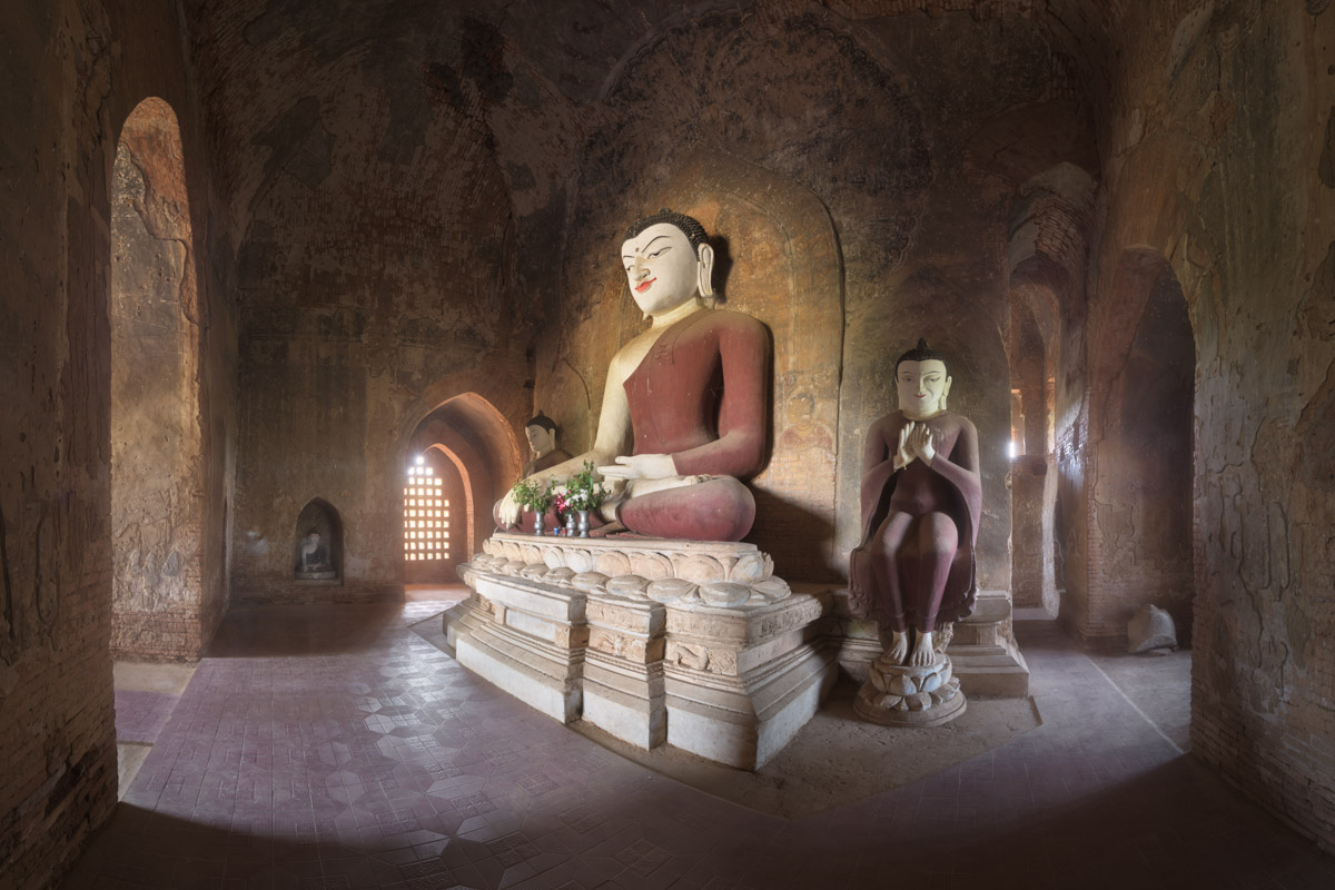 Ancient Temple Interior with Seated Buddhas, Bagan, Myanmar