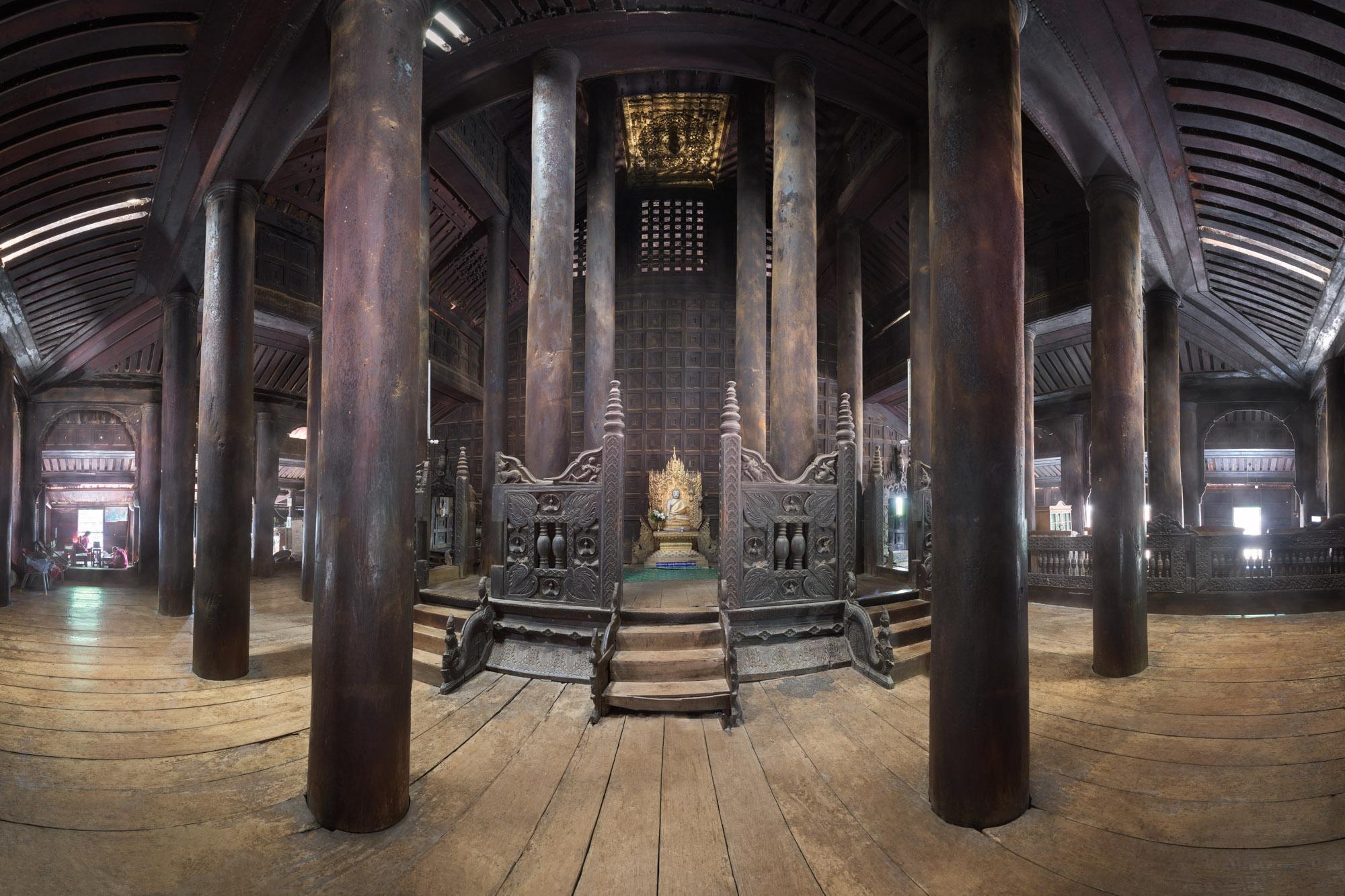 Interior of Bagaya Monastery, Inwa, Myanmar