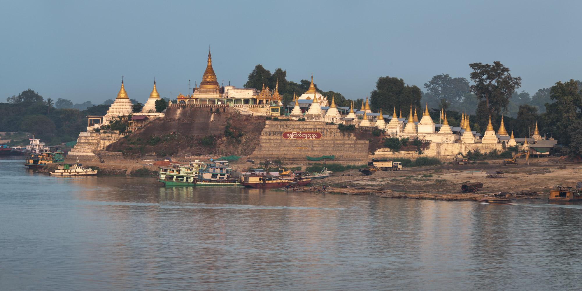 Shwe Kyat Kya Pagoda and Irrawaddy River, Sagaing Hill, Myanmar