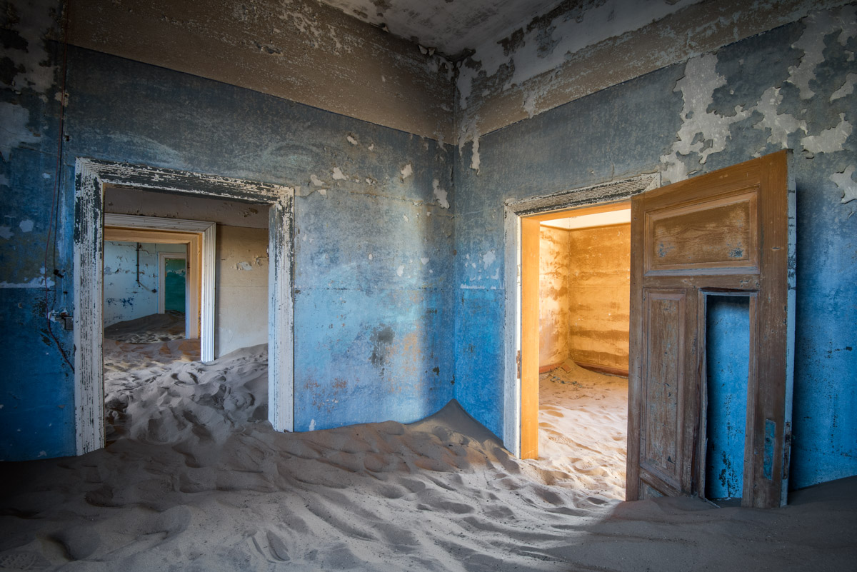Sand Dunes taking over a Derelict House in Kolmanskop, Namibia