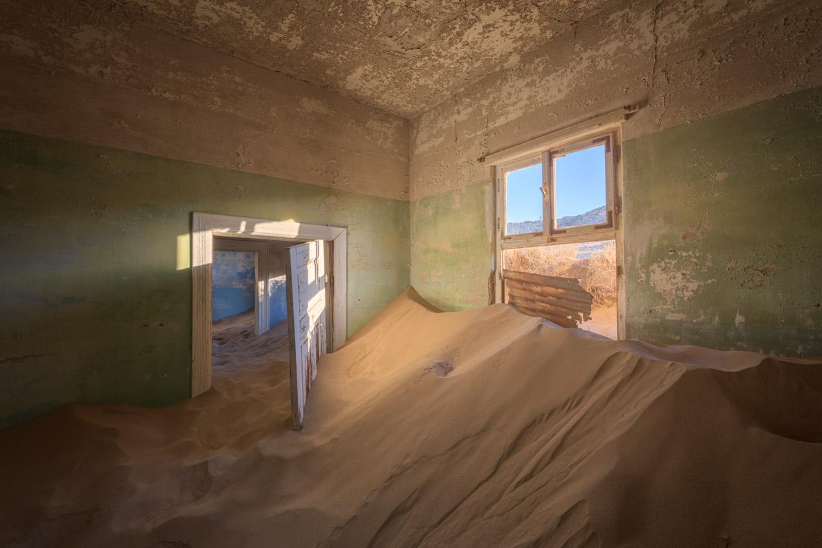 Sand Dunes taking over an Abandoned House in Kolmanskop, Namibia