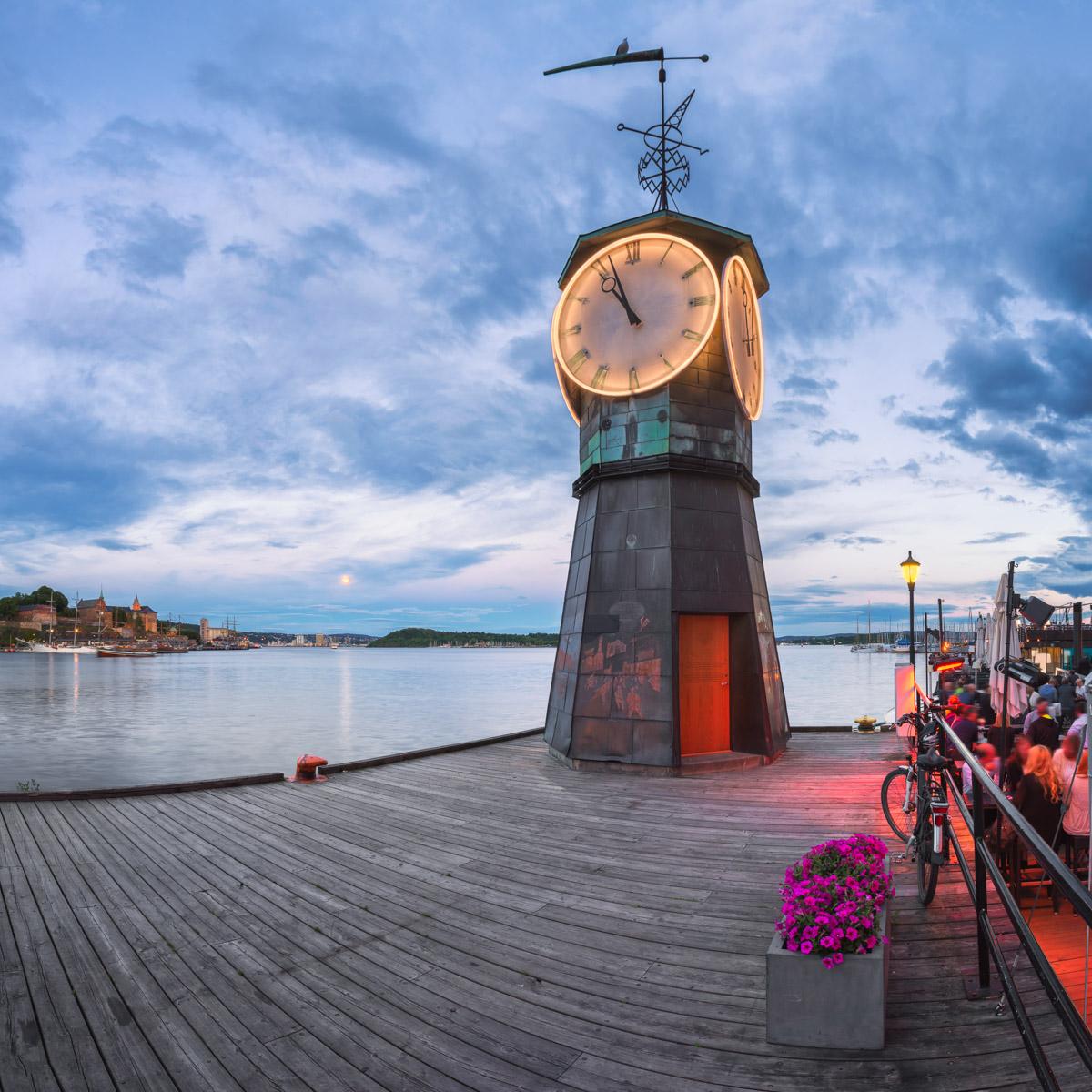 Clock Tower at Aker Brygge, Oslo, Norway