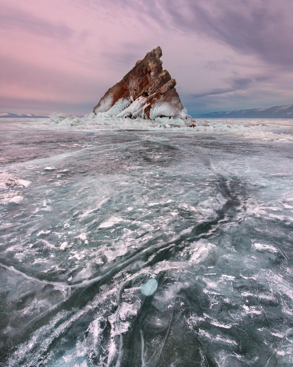 Island Elenka, Frozen Lake Baikal, Russia