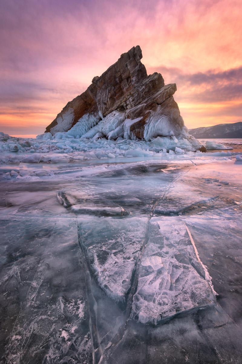 Island Izhilkhey, Frozen Lake Baikal, Russia