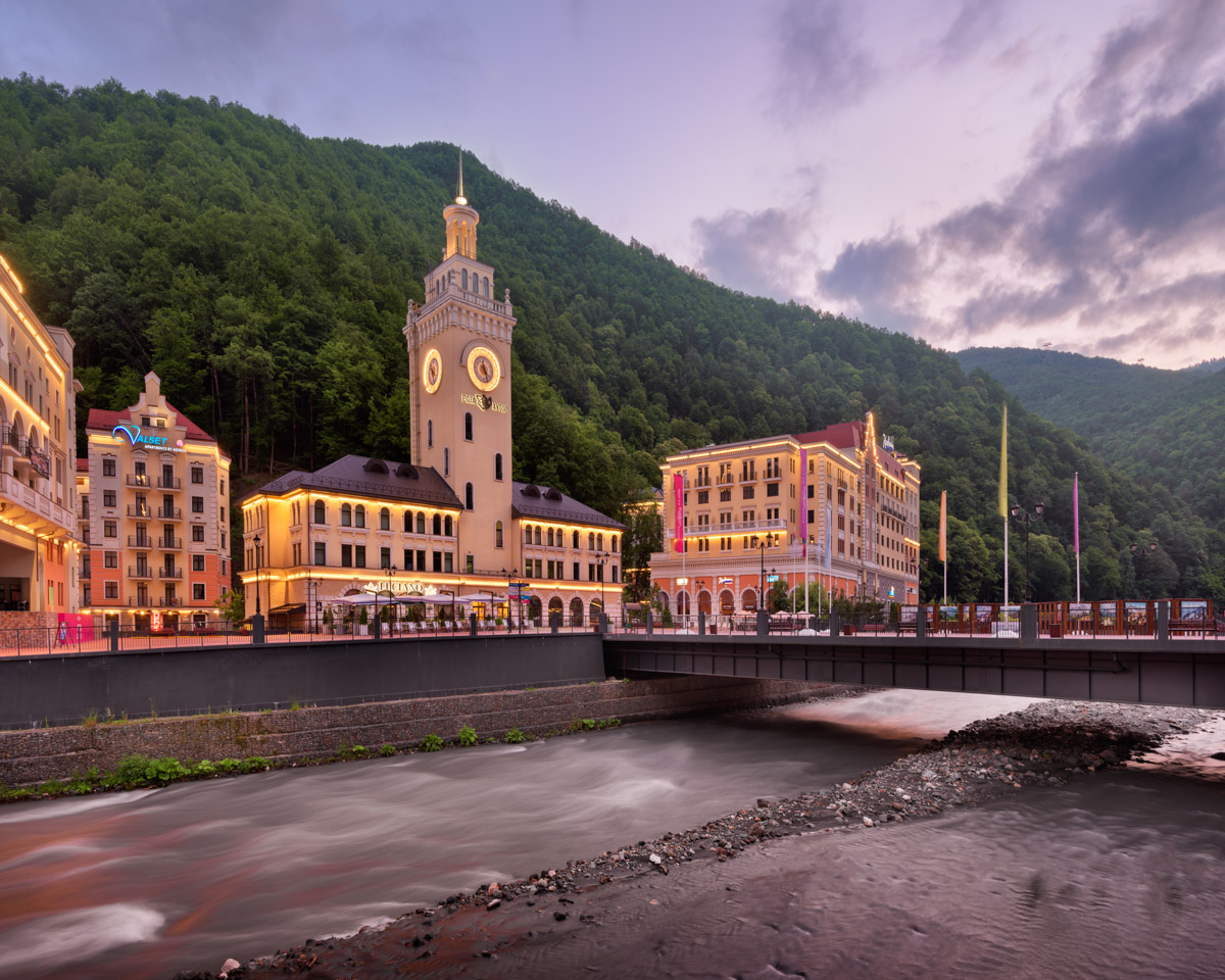 Romanov Bridge and Mzymta River, Rosa Khutor, Sochi, Russia