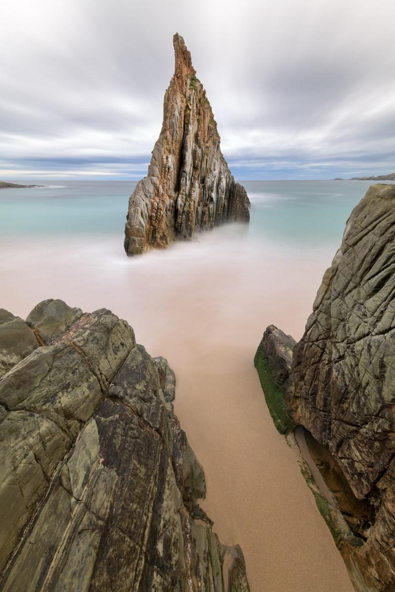 Playa Mexota Obelisk, Tapia de Casariego, Asturias, Spain