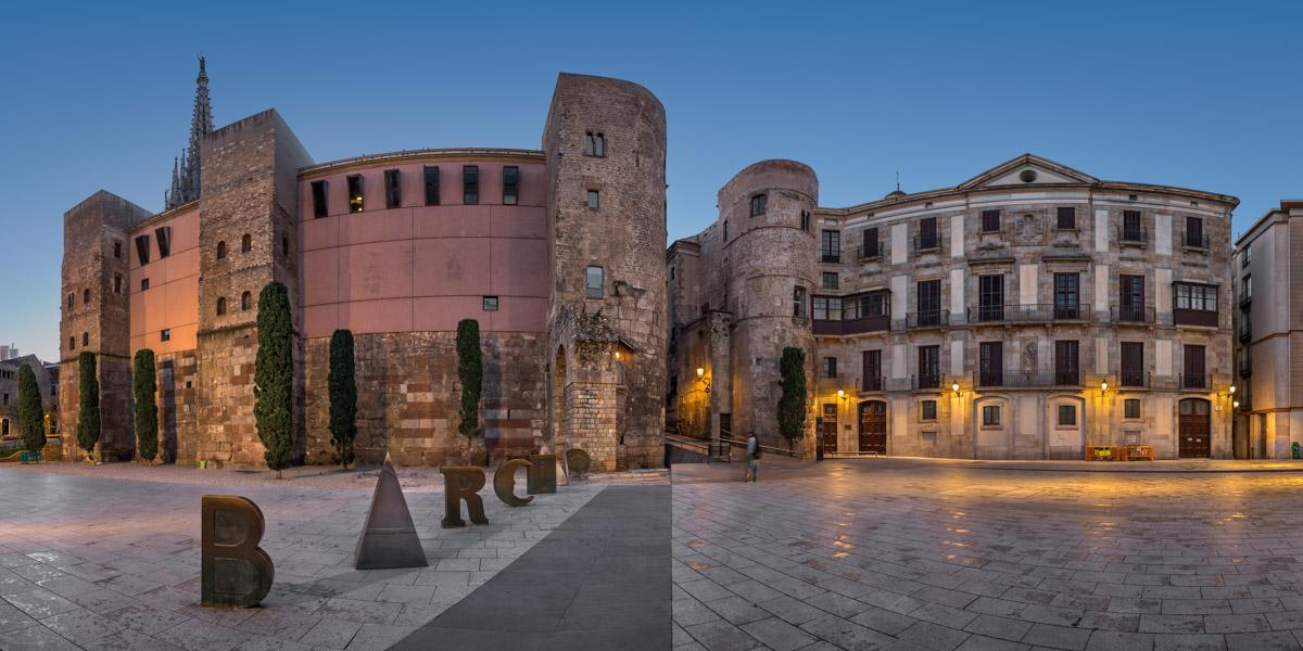 Panorama of Ancient Roman Gate and Placa Nova, Barcelona, Spain
