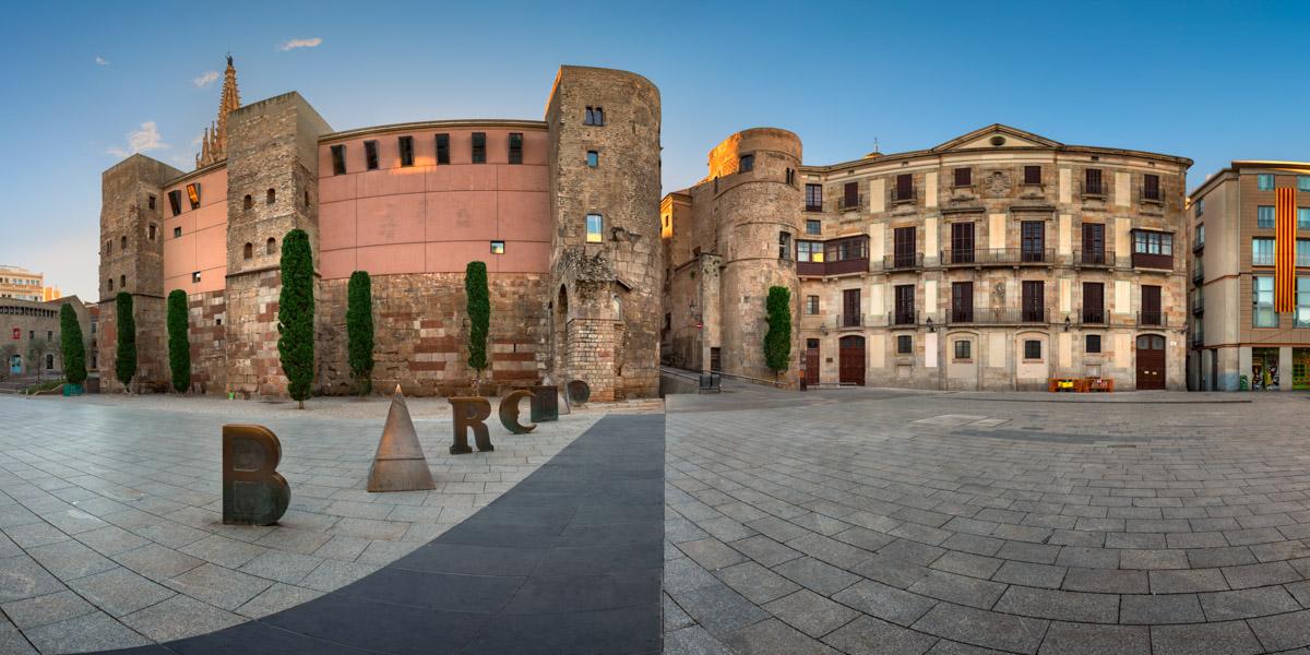 Panorama of Ancient Roman Gate and Placa Nova in Barcelona, Spain