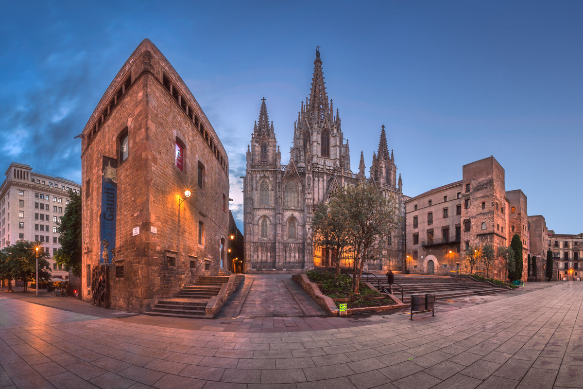 Panorama of Cathedral of the Holy Cross and Saint Eulalia, Barcelona