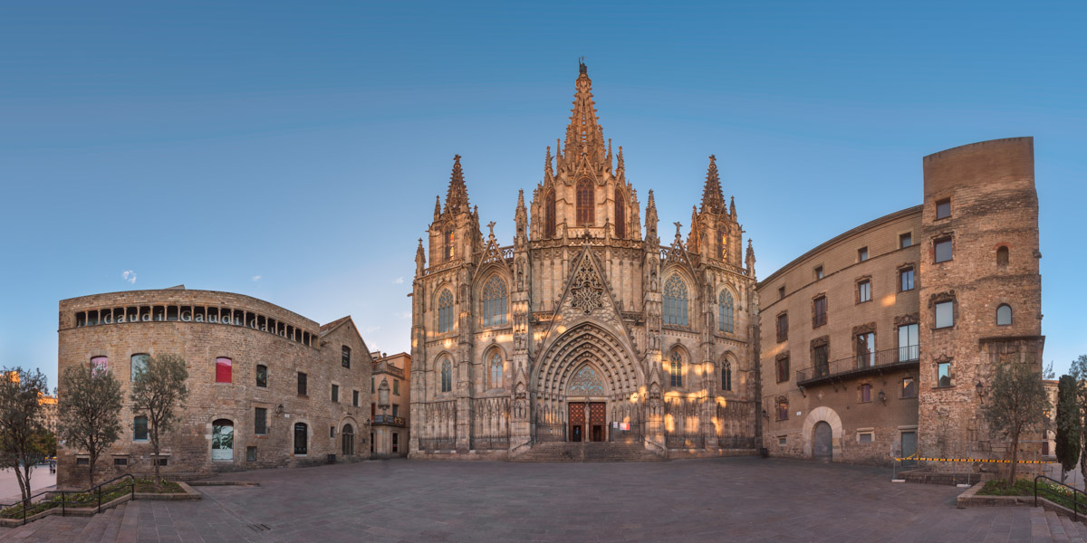 Panorama of Cathedral of the Holy Cross and Saint Eulalia in Barcelona