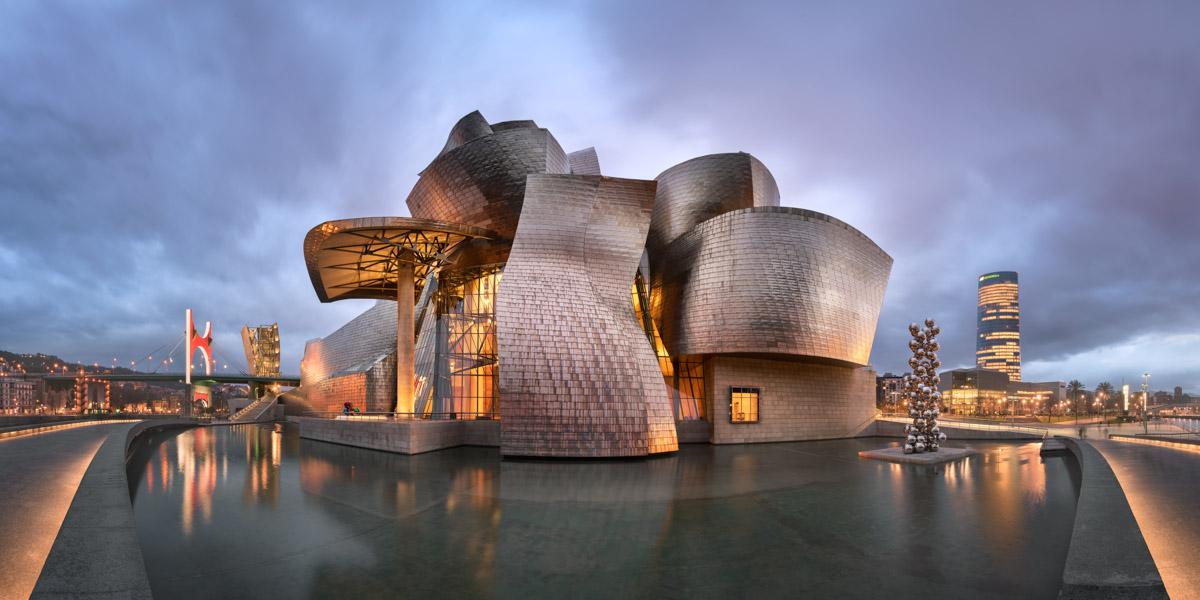 Panorama of Guggenheim Museum, Bilbao, Spain