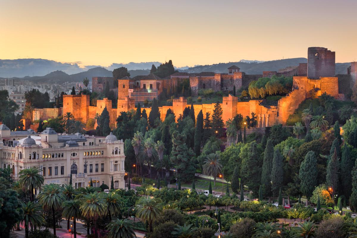 Malaga Skyline and Alkazaba, Andalusia, Spain