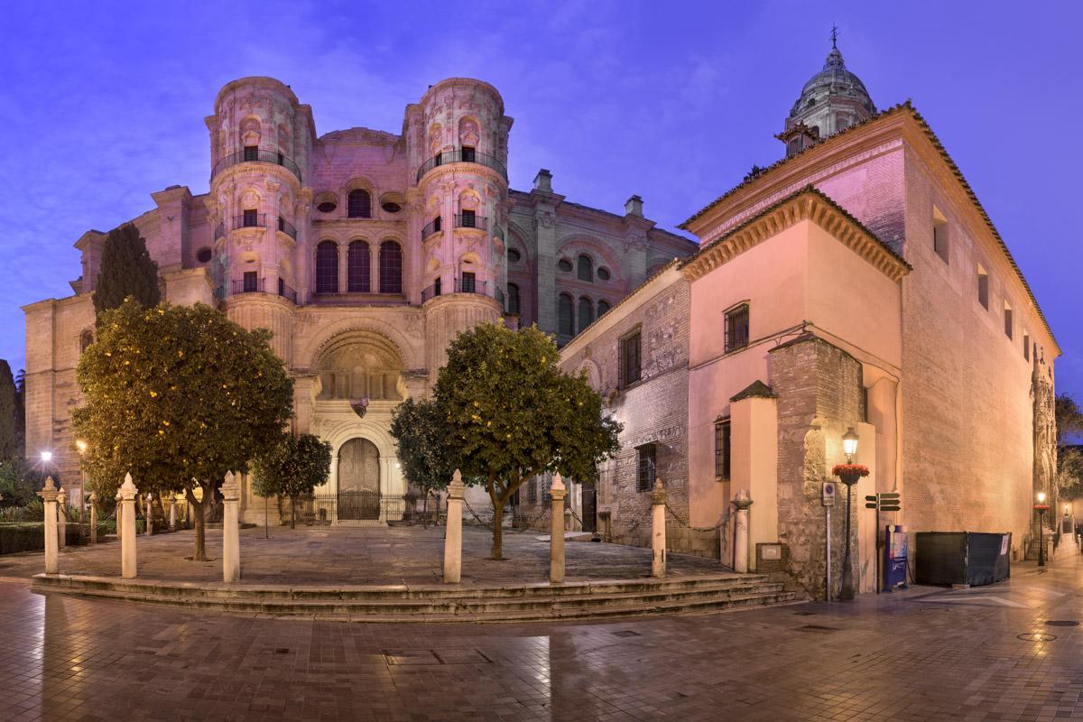 Panorama of Malaga Cathedral, Andalusia, Spain