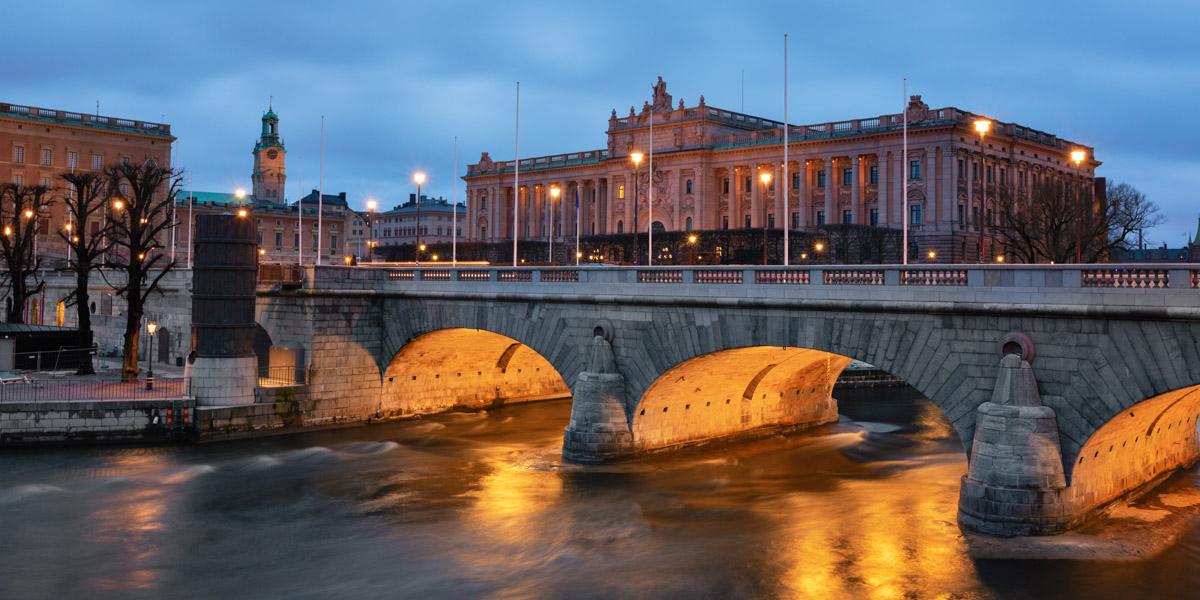 Riksdag Building and Norrbro Bridge, Stockholm, Sweden