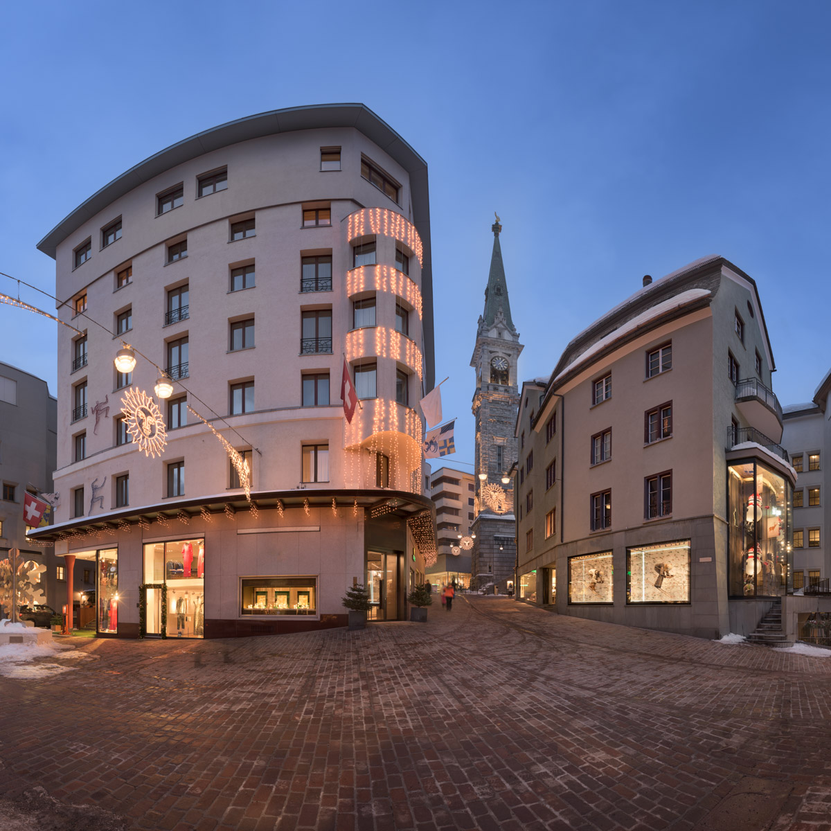 Via Maistra and Reformed Church, St Moritz, Switzerland