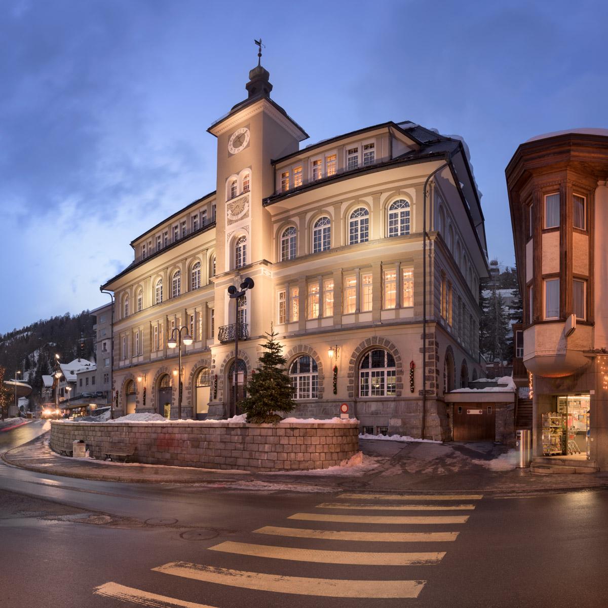 Via Quadrellas and St Moritz Library, St Moritz, Switzerland