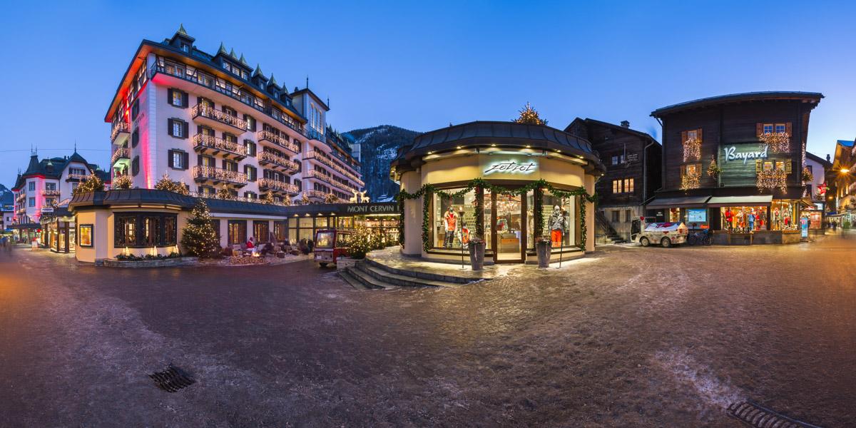 Bahnhofstrasse and Mont Cervin Palace, Zermatt, Switzerland